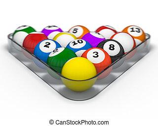 Pool billiard balls in starting position. 3D rendering