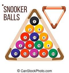 Pool Billiard Balls Vector. Snooker. Wooden Rack. Isolated Flat Illustration