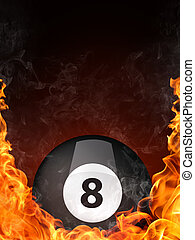 Pool Billiards Ball in Fire. Computer Graphics.
