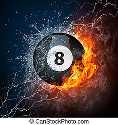 Pool Billiards Ball in Fire & Water. Computer Graphics.