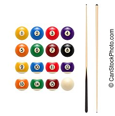 Pool or American billiards color balls with numbers and cues. Vector isolated icon of snooker colored balls and wooden gaming cue sticks for poolroom sport game symbol or championship tournament design template