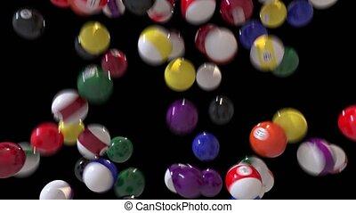 Pool billiards balls fill screen transition composite...