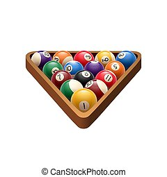 Pool or American billiards balls in triangle. Vector isolated icon of snooker color balls with numbers in wooden rack for poolroom sport game symbol or or championship tournament design template