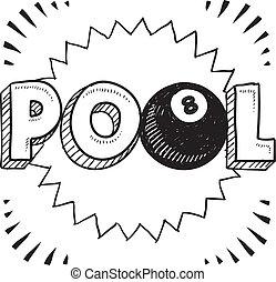 Pool billiards sketch
