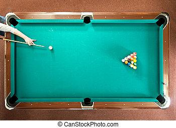 Pool break - Pool player ready for the break, seen from...