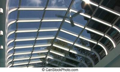 Pool Ceiling Fan - A cool shot of a ceiling fan inside an...