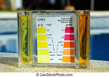 Pool chemical tester. - Checking the chemical balance of a...