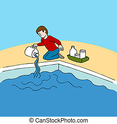 Pool Chemicals - An image of man using pool chemicals.