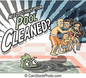 Pool Cleaning Ad with Creature - The Creature from the Black...