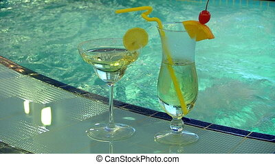 pool., cocktail, natation