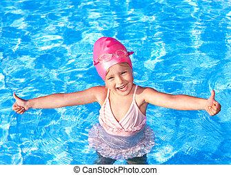 pool., criança, natação, polegar cima