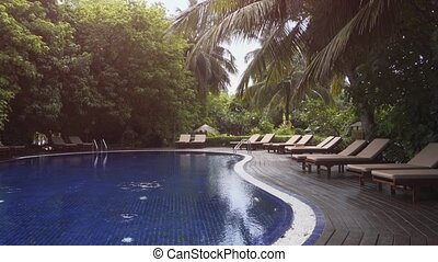 Pool Deck and Gardens of Luxury Resort on Vaadhoo Island - ...