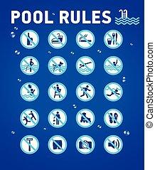 pool., desihn, symbole, règles, ensemble, elements-waterdrops., natation, bleu, piscine, icônes