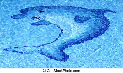 Pool Dolphin Tile Waves B - Pool surface Waves With Dolphin...