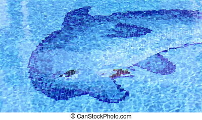 Pool Dolphin Tile Waves C - Pool surface Waves With Dolphin...