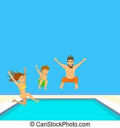 pool., familie schilderstuk, illustration., zwemmen, vector