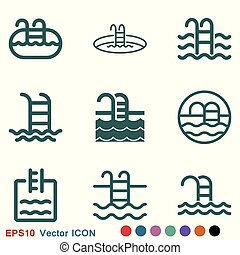 Pool flat icon vector sign symbol for design