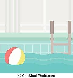 pool., fundo, natação