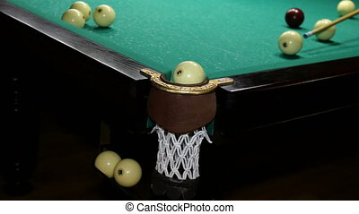 Pool Game. Billiard balls move with cue on the billiard table. Game of inept player on billiards.