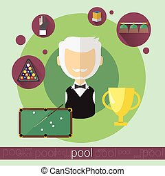 Pool Game Player Senior Man Billiards Icon