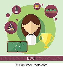 Pool Game Player Young Girl Billiards Icon
