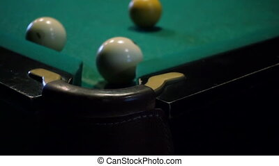 Pool Game, The Ball Gets In The Pocket - Pool game, the ball...