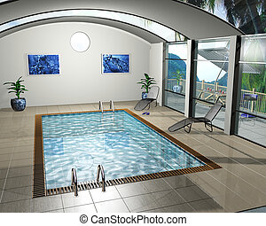 Pool house - 3D render of an interior of a pool house