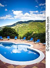 pool in resort - pool in a mountain resort