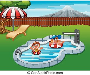 pool, inflatable, geitjes, zwevend, ring