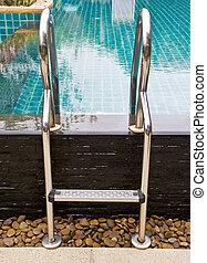 Pool ladder.
