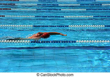Pool lane - Man swimming in a pool lane