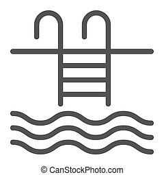 Pool line icon, fitness and sport, swim sign vector graphics, a linear pattern on a white background, eps 10.