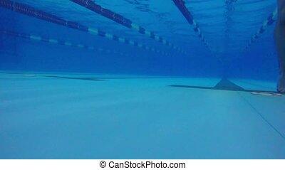 Pool man swimmer underwater walkway blue water - Pool man...