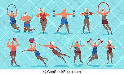 pool., natación, conjunto, ejercicio, ancianos