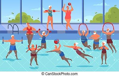 pool., natación, ejercicio, ancianos