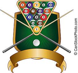 Pool or Billiards Emblem Design Shi - Illustration of a pool...