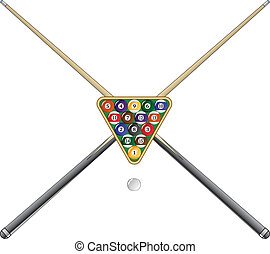 Illustration of a rack of pool or billiard balls and crossed sticks or cues.