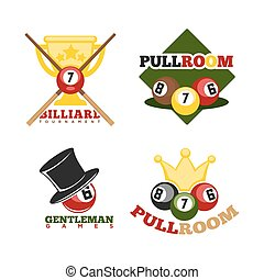 Pool or billiards vector icons or templates set of cues and balls for poolroom game club contest. Emblems or logos for championship tournament wih champion winner cup award and victory crown