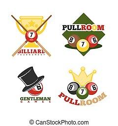 Pool or billiards vector icons set - Pool or billiards...