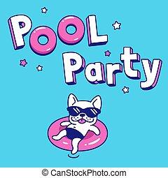 Pool party cartoon illustration