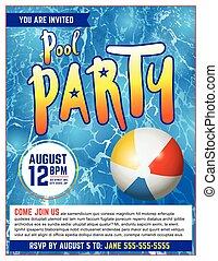 Pool Party Flyer Invitation Illustration