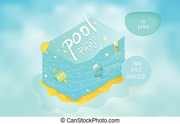 Pool Party flyer. Vector illustration. - Pool Party flyer...