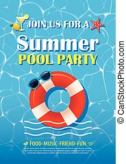 Pool party invitation poster with blue water. Vector summer background.