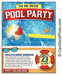 Pool Party Invitation Template - A template for a pool party...