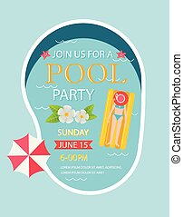 Pool party invitation with top view of pool, vector...