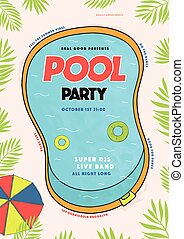 Pool party poster. Summer event, festival vector colorful...