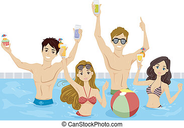 Pool Party - Illustration of a Group of Teenagers Having a...