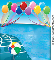 Vector Illustration of pool party with balloons and beach ball.