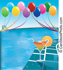 Vector Illustration of pool party with balloons and cocktail drink.