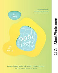 Pool Party vertical flyer with papercut shapes. Vector...